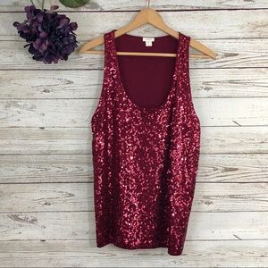 J Crew Tank Top Sequin Blouse Contrast Back Red
